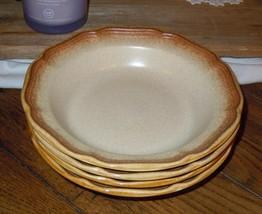 """4pc Mikasa Whole Wheat 8.5"""" Cereal Salad Bowl Set E8000 Stoneware Earthe... - $34.64"""