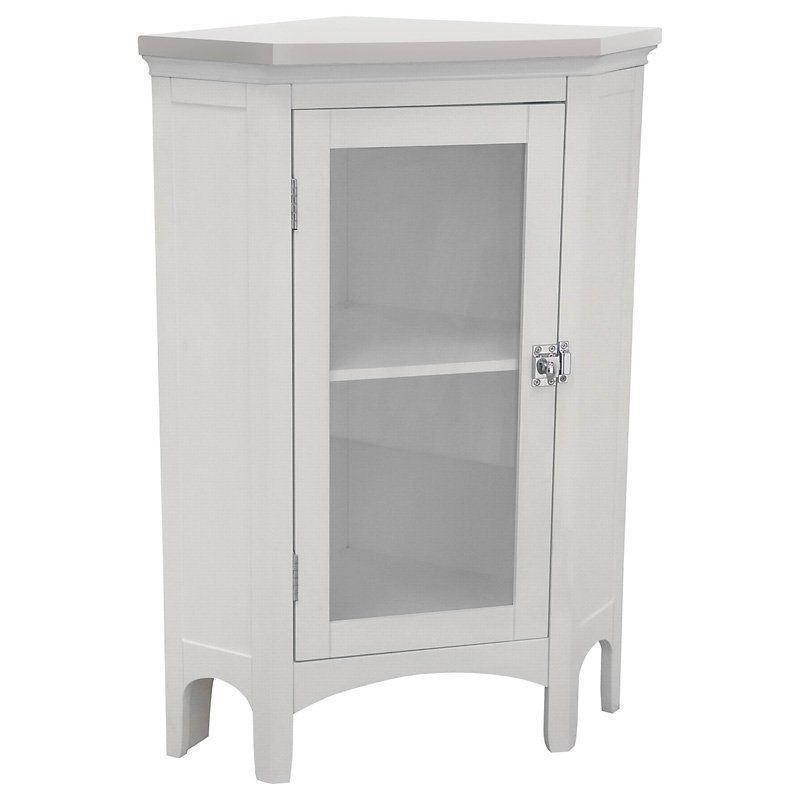 Bathroom Linen Storage Floor Cabinet: White Wooden Corner Linen Tower Bathroom Towel Storage