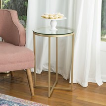 """16"""" Glass Top Round Side End Table Home Furniture Living Room Metal Fram... - $81.51"""