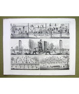 GYMNASTICS MILITARY Horse Beam Rope Vaulting -1844 SUPERB Print Engraving - $16.84