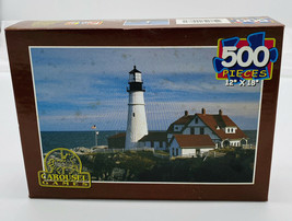 CAROUSEL GAMES 500 Pc Jigsaw Puzzle Lightshouse Preowned Sealed - $5.15