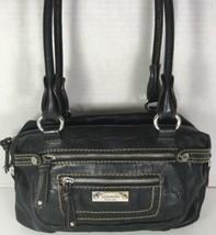 Tignanello Black Reptile Print Leather Satchel Shoulder Bag - $37.82