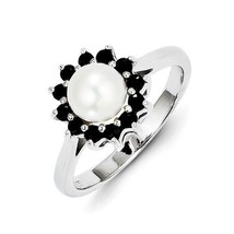 STERLING SILVER 6MM PEARL AND SAPPHIRE HALO RING - SIZE 6  - $44.62