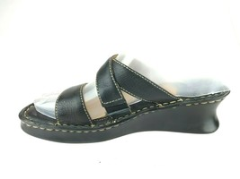 Born Black Leather Wedge Strappy Slide Slip On Sandals Sz 2 / 33.5 - $23.33