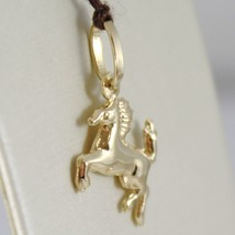 18K YELLOW GOLD ROUNDED HORSE PENDANT CHARM 22 MM SMOOTH BRIGHT MADE IN ITALY image 2