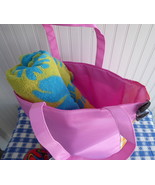Clinique Large Beach Bag Tote Hot Pink Yellow Gingham 1990s As New Shopp... - $16.00
