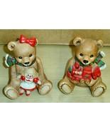 Vintage -Homco #5560 -Ceramic Christmas Bears - $4.94