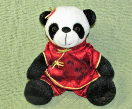 "7"" CHINESE FUFU PRAYER BEAR PLUSH PANDA STUFFED ANIMAL TEDDY BLACK WHITE... - $11.88"