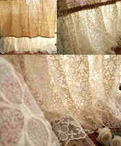 SHABBY Rustic Chic Burlap SHOWER Curtain Lace Ruffle FLOWER French Count... - $101.46