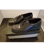 Ecco Womens Size 40 9.5 US Soft Square Toe lace Up Walking Shoes Black EUC - $21.26