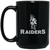 Raiders Coffee Mug | Raiders Mug | Raiders Mini Player | 15 oz Black Ceramic Cup - $13.99