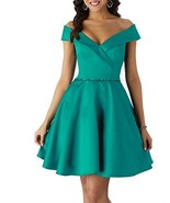 Short Homecoming Dresses Satin A Line Off Shoulder Beaded Prom Formal Ev... - $81.98