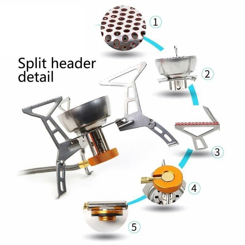 Portable Split Type Gas Stove Burner Adjustable Stainless Steel Furnace Head New
