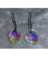 clear Aurora Borealis Crystal heart earringss hook Downton Abbey - $13.50