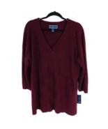 Karen Scott Women's Sweater Plus 1X Burgundy V-Neck Merlot - $44.55