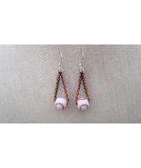 MLB Inspired Ceramic Baseball Two Link Chain Earrings Sterling Wires Ha... - $20.50