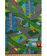Trains Cars Helicopters Roads Playmat-Look Kids Cotton Fabric Print BTY ... - $11.95