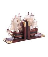 SAILING SHIP Bookends Wood Schooner Coastal Nautical Decor - $33.62