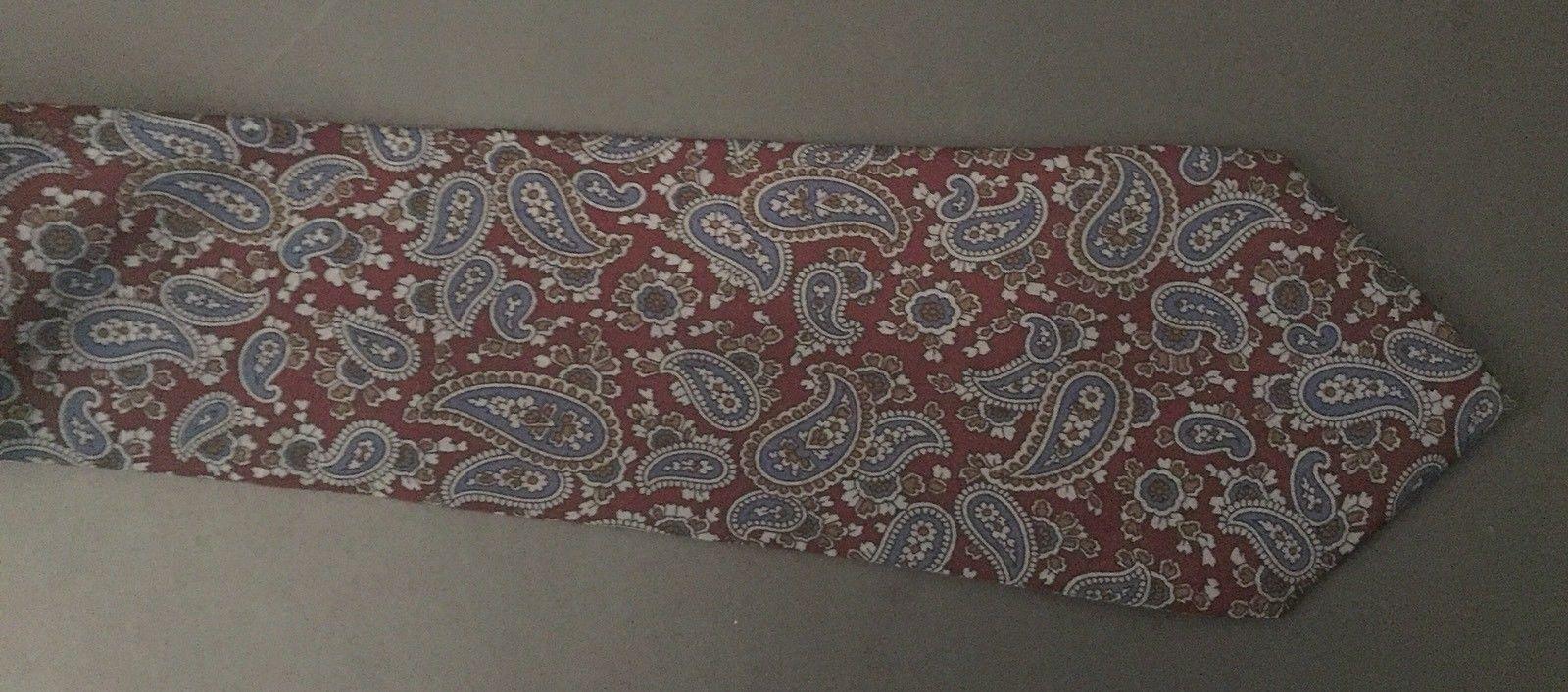 Geoffrey Beene Dark Paisley Tie Necktie Burgundy Blue Cohoes Silk Italian Made image 2