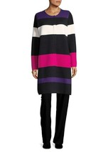 New Calvin Klein Women Striped Long Sweater Cardigan Multi Color Variety... - $98.99