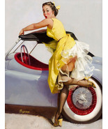 Vintage pin up girl classic convertible car art reproduction metal sign - $19.79