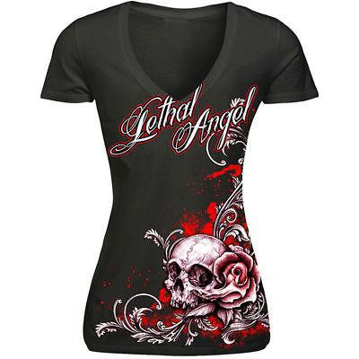 Womens Lucky 13 Siren Punk Tattoo Goth Mermaid Pin Up Skull V-Neck Shirt S-Xxl