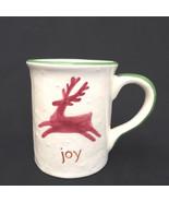 Christmas Joy Snow Flakes Reindeer Coffee Mug Collectable Pottery - $11.88