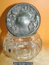 """EAPG Glass Vanity Jar 4"""" Empire Art Silver Lid repousse Famous nouveau a... - $44.99"""