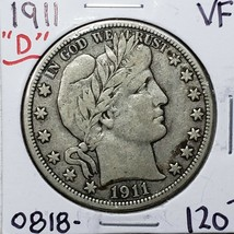 1911D Denver Mint Silver Barber Half Dollar Coin Lot A 179