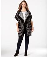 JESSICA SIMPSON size MEDIUM Fringed Blanket Cardigan Black/Gray - $33.95