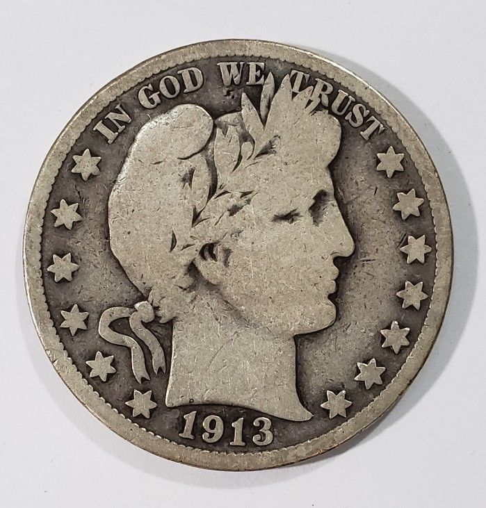 1913 Liberty Barber Head Half Dollar 50¢ Silver Coin Lot E 273