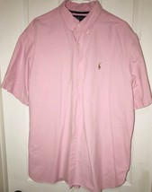 Polo Ralph Lauren Men's Casual Dress Shirt XXL Pink Oxford Short Sleeve - $23.80