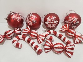 Christmas Holiday Red White Candy Cane Peppermint Ornaments Decor Set of 10 - $28.99