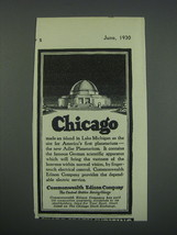 1930 Commonwealth Edison Company Ad - Chicago made an island in Lake Mic... - $14.99