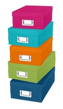 5 Colors Storage Organizer Boxes Container Plastic Case Paper Stationery... - $24.54 CAD