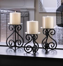 SET OF 3 SCROLL CANDLE HOLDERS Black Iron Scrollwork Pillar Gallery New ... - $21.34