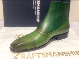 Handmade Men's Green Leather High Ankle Buttons Boot image 3