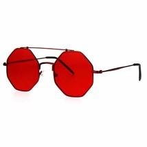 Octagon Shape Sunglasses Flat Top Metal Frame Colorful Shades UV 400 - $10.95