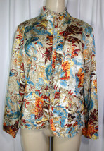 Chicos Additions Sz 1 (M 8 10) Tan Red Blue Floral Sateen Ruffle Trim Ja... - $18.36
