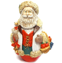 Santa Figurine White Coat Goose & Fruit Basket Rustic Decor Victorian St... - $12.00