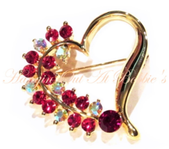 Heart Pin Brooch Crystal Red Aurora Borealis Gold Tone Metal Valentine's... - $16.99