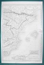 SPAIN Eastern Part Balearic Islands & Gibraltar - c. 1835 Original Map 1... - $22.95