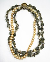 Estate Signed Scaasi Triple Strand Beaded Necklace C1940 - $27.96