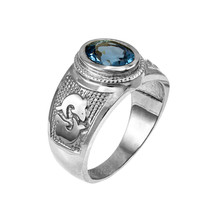Sterling Silver Pisces Zodiac Sign March Birthstone Aqua CZ Ring - €55,34 EUR