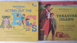 """2 Walt Disney's Acting Out the ABCs and Treasure Island 12"""" Vinyl Record LP - $14.62"""