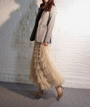 Deep Champagne Layered Tulle Skirt Outfit Long Tiered Tulle Skirt Plus Size  image 4