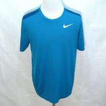 Nike Running Mens Teal Blue Short Sleeve Dri-Fit T-Shirt Size Large Fitness Tee - $9.95
