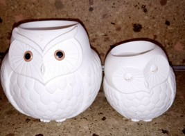 Partylite Mama & Baby Owl Duo Tea light Holders Set of 2 White - $19.79