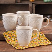 Set Of 4 The Pioneer Woman Farmhouse Off White Linen Lace Mug Set New - ₹1,741.10 INR