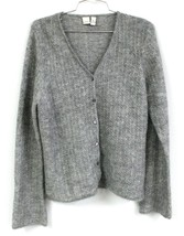 ANN KLEIN 2 Women's Large L Gray Cardigan Sweater Beaded Sparkle Mohair ... - $21.00